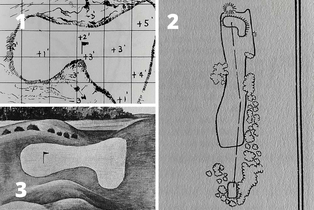 A pictorial study of the changes to the green and bunkering on Hole 7, Pampas at the home of The Masters, Augusta National Golf Club.