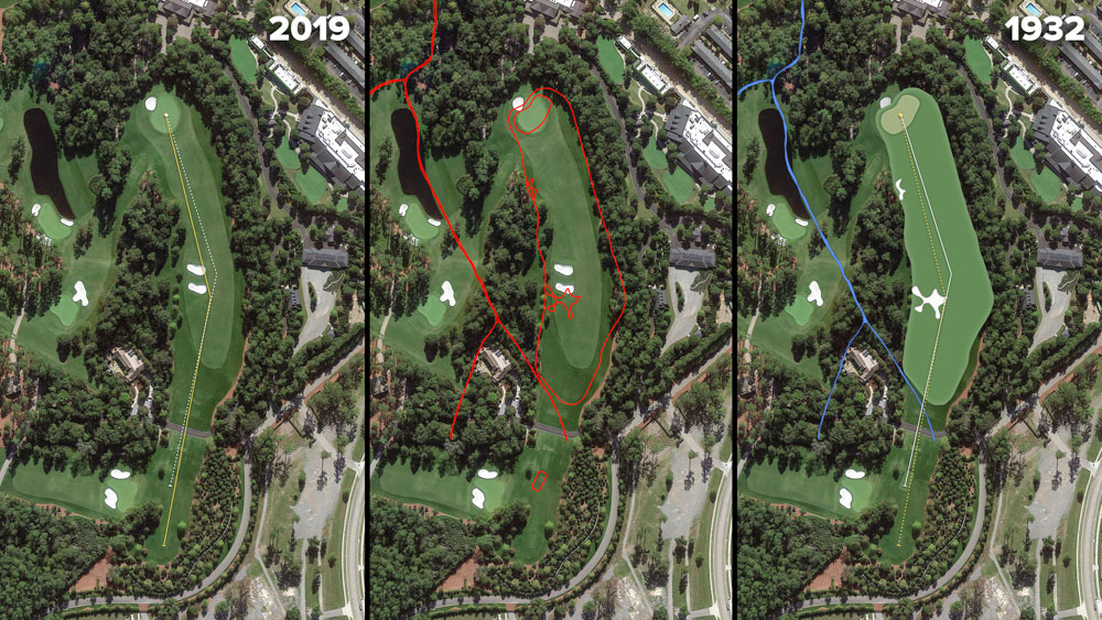 Visual outline of 1932 Augusta National over modern imagery of Magnolia, Hole 5 at the home of The Masters, Augusta National Golf Club.