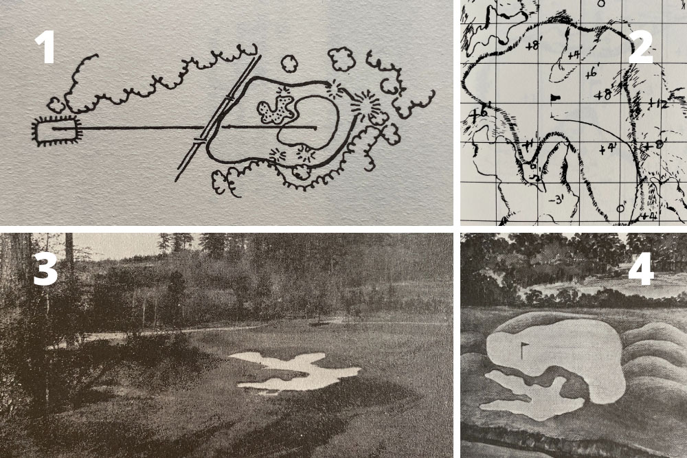 A pictorial study of the changes to the green and bunkering on Hole 6, Juniper at the home of The Masters, Augusta National Golf Club.