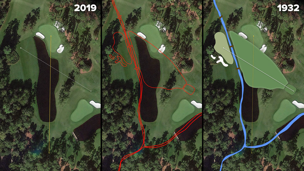 Visual outline of 1932 Augusta National over modern imagery of Redbud, Hole 16 at the home of The Masters, Augusta National Golf Club.