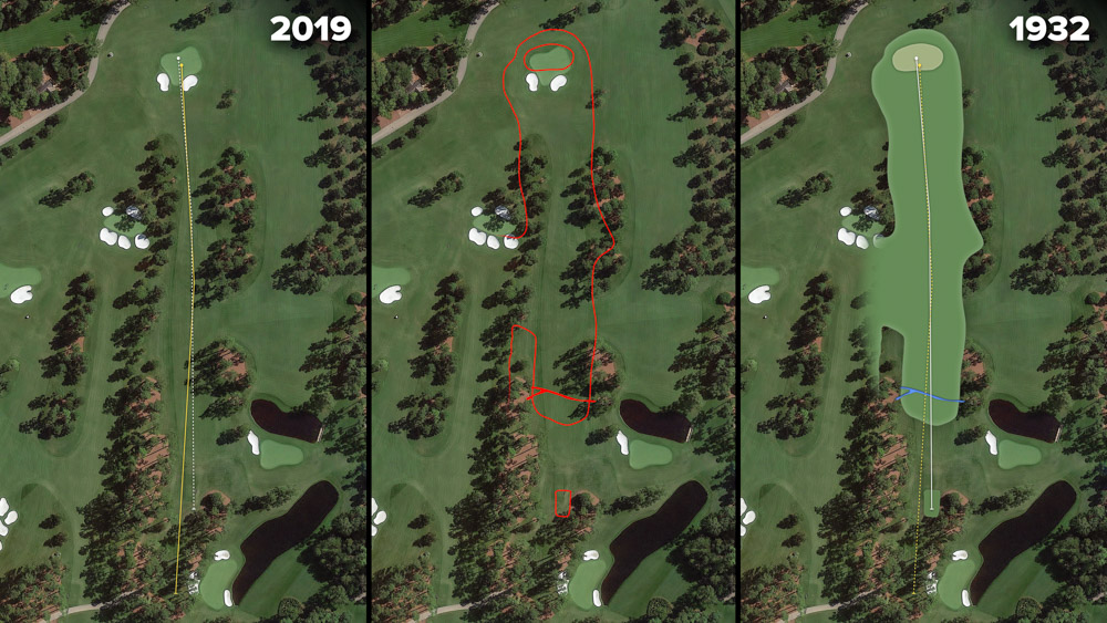 Visual outline of 1932 Augusta National over modern imagery of Nandina, Hole 17 at the home of The Masters, Augusta National Golf Club.