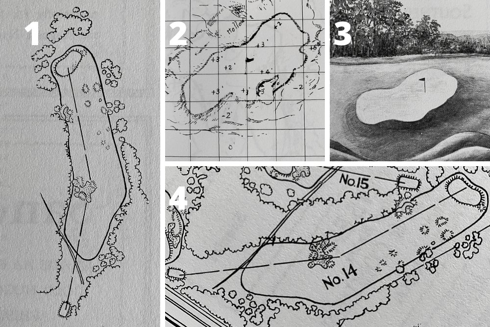 A pictorial study of the changes to the green and bunkering on Hole 5, Magnolia at the home of The Masters, Augusta National Golf Club.