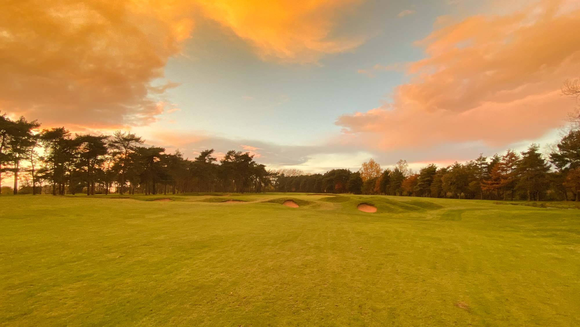 The 1st green complex with at Flempton Golf Club.