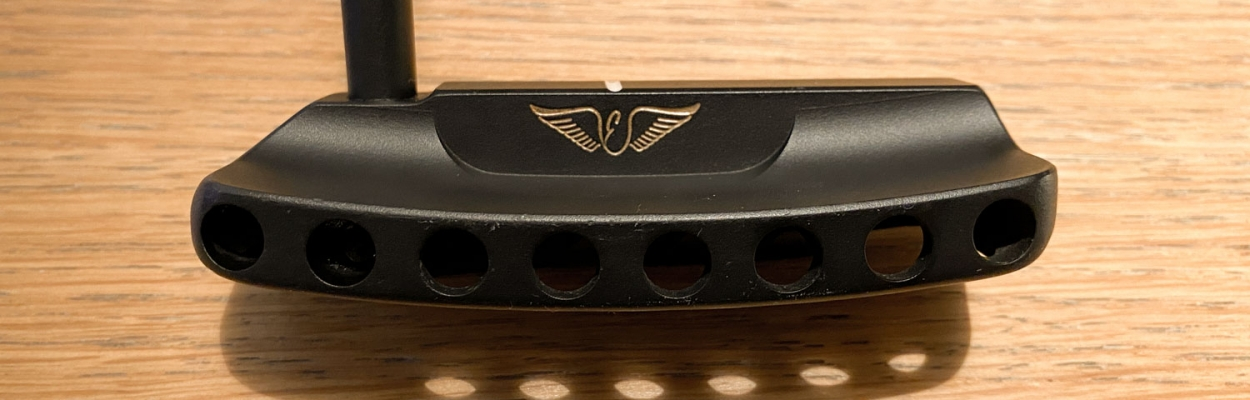 A photo of the face of an Edel custom fit putter.