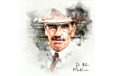 A modern watercolour of golf course architect Alister MacKenzie by Joe Mcdonnell.