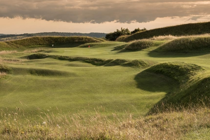The hilltop bunkerless golf courses of England includes Painswick Golf Club shown here.