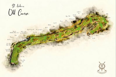 Modern golf art of The Old Course St Andrews.
