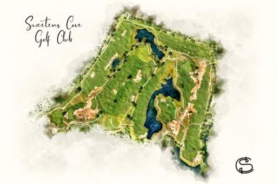 A modern golf art course map print of Sweetens Cove Golf Club.