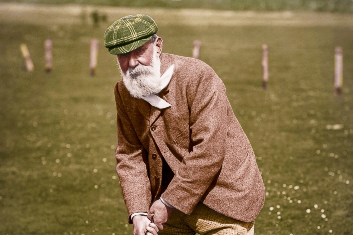 Colourised image of Old Tom Morris, Golf Course Architect, St Andrews